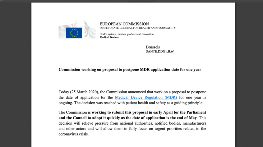 The European Commission confirms proposal to postpone the MDR